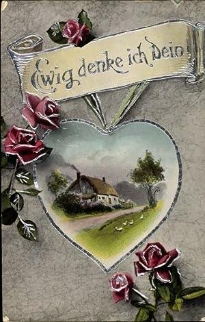 Präge Passepartout Ansichtskarte / Postkarte Ewig denke