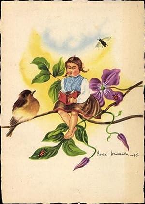 Künstler Ansichtskarte / Postkarte Wasserkampf, Herta, Mädchen
