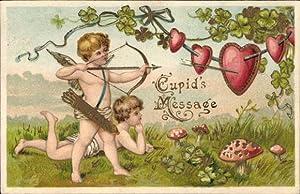 Präge Litho Cupid's Message, Engel schießt auf