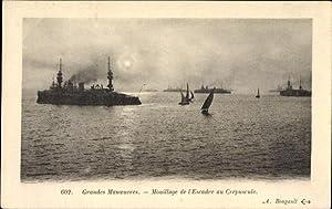 Ansichtskarte / Postkarte Französisches Kriegsschiff, Grandes Manoeuvres,