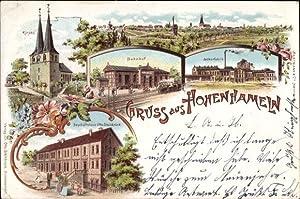 Litho Hohenhameln Niedersachsen, Kirche, Bahnhof, Zuckerfabrik, Geschäftshaus
