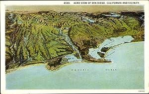 Landkarten Ansichtskarte / Postkarte San Diego Kalifornien