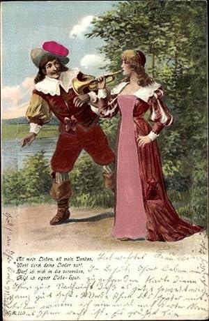 Präge Stoff Ansichtskarte / Postkarte Trompeter von