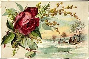 Litho Winterlandschaft mit Teich und Häusern, Schnee,