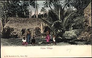 Ansichtskarte / Postkarte Fiji Fidschi, Fijian Village,