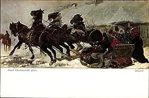 Künstler Ansichtskarte / Postkarte Chelmonski, Jozef, Odjazd,