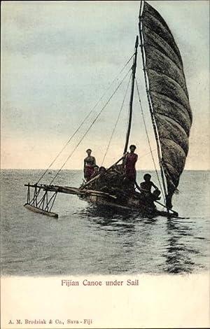 Ansichtskarte / Postkarte Fiji Fidschi, Fijian Canoe