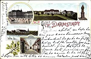 Litho Darmstadt in Hessen, Stadtansichten, Post, Denkmal,