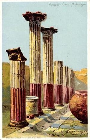 Künstler Litho Pompei Campania, Casa Meleagro, Ruinen