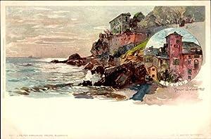 Künstler Litho Wielandt, Manuel, Recco Liguria, Küstenpartie,