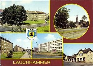 Wappen Ansichtskarte / Postkarte Lauchhammer Niederlausitz, Platz