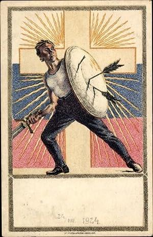 Künstler Ansichtskarte / Postkarte Tschechoslowakei, Kreuz, Schild,
