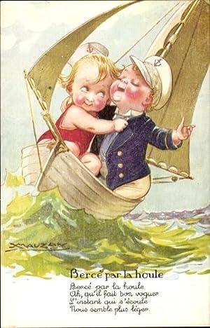Künstler Ansichtskarte / Postkarte Mauzan, Liebespaar in