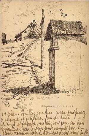 Künstler Ansichtskarte / Postkarte Kanton Schwyz, Pilgerweg,