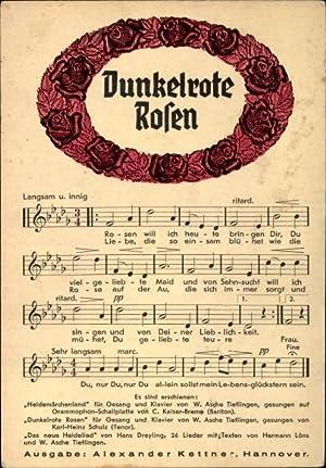 Lied Ansichtskarte / Postkarte Dunkelrote Rosen, W.