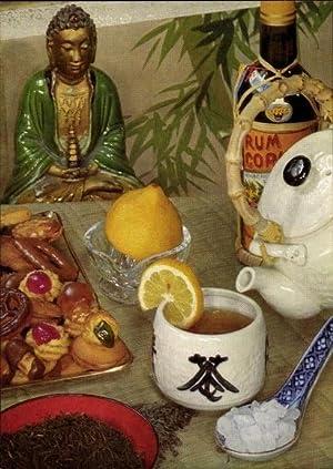 Ansichtskarte / Postkarte Kekse, Tee mit Zitrone,