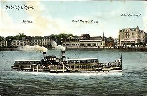 Ansichtskarte / Postkarte Biebrich Wiesbaden in Hessen, Schloss, Hotel Nassau Krone, Hotel ...