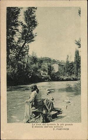 Ansichtskarte / Postkarte Italien, Wäscherin am Fluss,