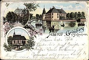 Litho Gelsenkirchen im Ruhrgebiet, Bootspartie am Schloss