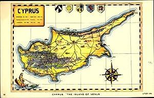 Landkarten Wappen Ansichtskarte / Postkarte Zypern Cyprus,