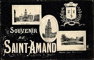 Wappen Ansichtskarte / Postkarte Saint Amand les
