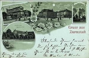 Mondschein Litho Darmstadt, Jagdschloss Kranichstein, Theater, Kriegerdenkmal,