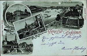 Mondschein Litho Dresden, Belvedère, Brühl'sche Terrasse, Landeplatz,