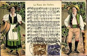Präge Lied Litho Le Ranz des Vaches,