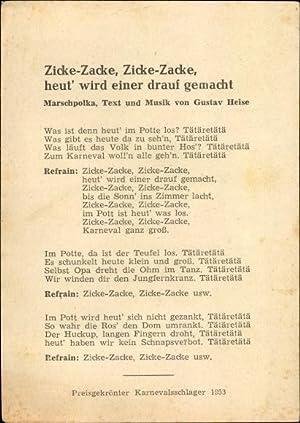 Lied Ansichtskarte / Postkarte Karneval, Gustav Heise, Marschpolka, Zicka  Zacke, Schunkelwalzer,