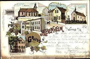 Litho Abenheim Worms in Rheinland Pfalz, Kapelle, Gasthof
