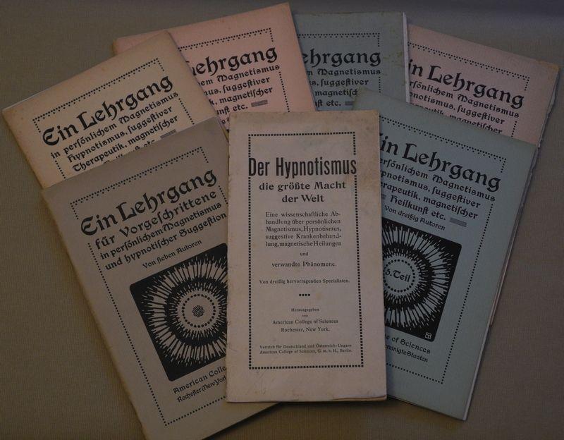 Hypnotismus und hypnotische Suggestion. Eine wissenschaftliche Untersuchung über die Anwendungsformen und Möglichkeiten des Hypnotismus, der Suggestion und der diesen verwandten Erscheinungen von dreißig Autoren (Heft 6: . von 7 Autoren). (A.d. Umschlag v