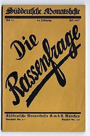 Die Rassenfrage, Süddeutsche Monatshefte 24.Jahrgang Heft 10: Paul Schultze Naumburg,