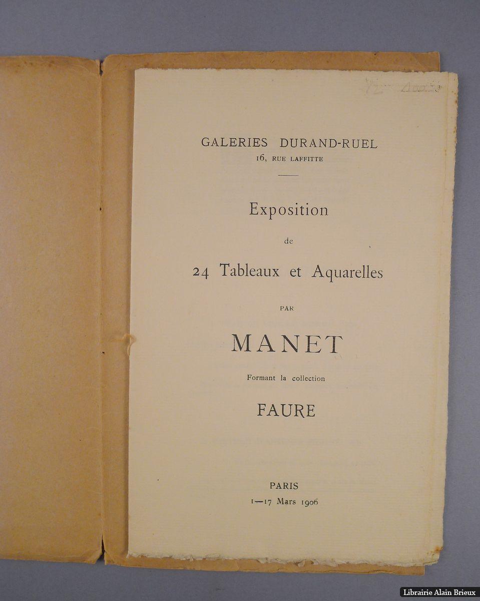 Catalogue des tableaux de Manet formant la Collection Faure by MANET]: Bon Couverture rigide ...