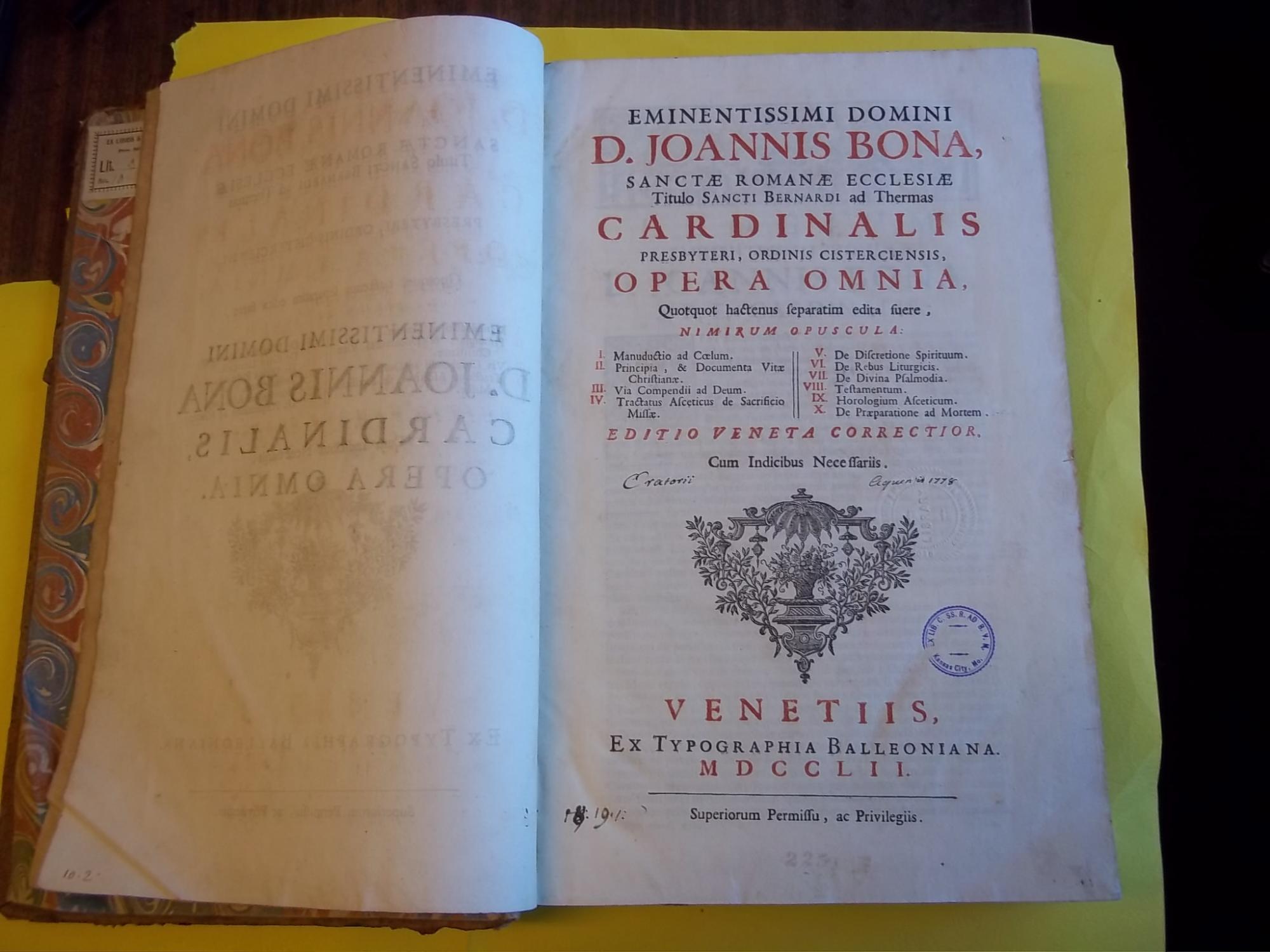 Eminentissimi domini D. Joannis Bona Opera omnia, quotquot ...