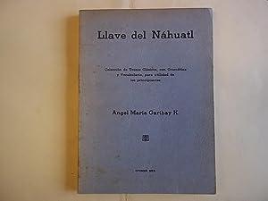 Llave Del Nahuatl. Coleccion De Trozos Clasicos,: Garibay. Angel Maria