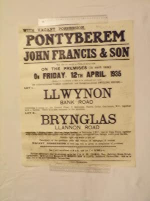 Pontyberem. John Francis & Sons.public Auction on: Anon