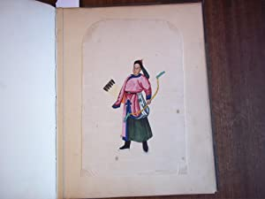 An Album Containing 15 Mounted Watercolours Depicting 7 Chinese Costumed Figures and 8 Boating Sc...