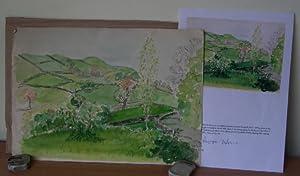 Original Watercolour. English Landscape.: GRENFELL Joyce.