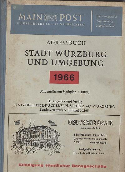 Adreßbuch Stadt Würzburg und Umgebung 1966. 64.