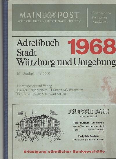 Adreßbuch Stadt Würzburg und Umgebung 1968. 66.