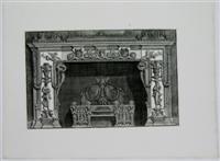 Chimneypiece: Head of Medusa between two Satyr heads on lintel.: G.B. Piranesi
