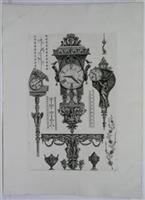 Miscellaneous furniture including three clocks and a console table: G.B. Piranesi
