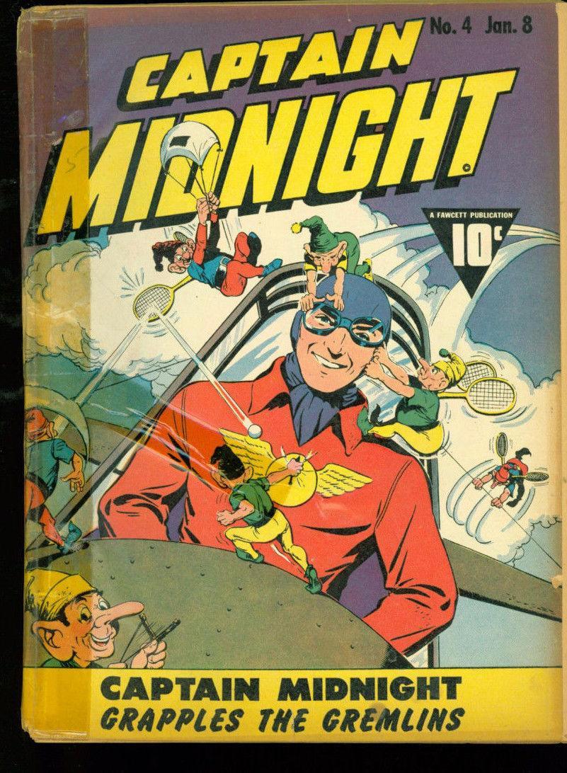 Captain Midnight 4 reader copy 1942 Fawcett WWII era Comic