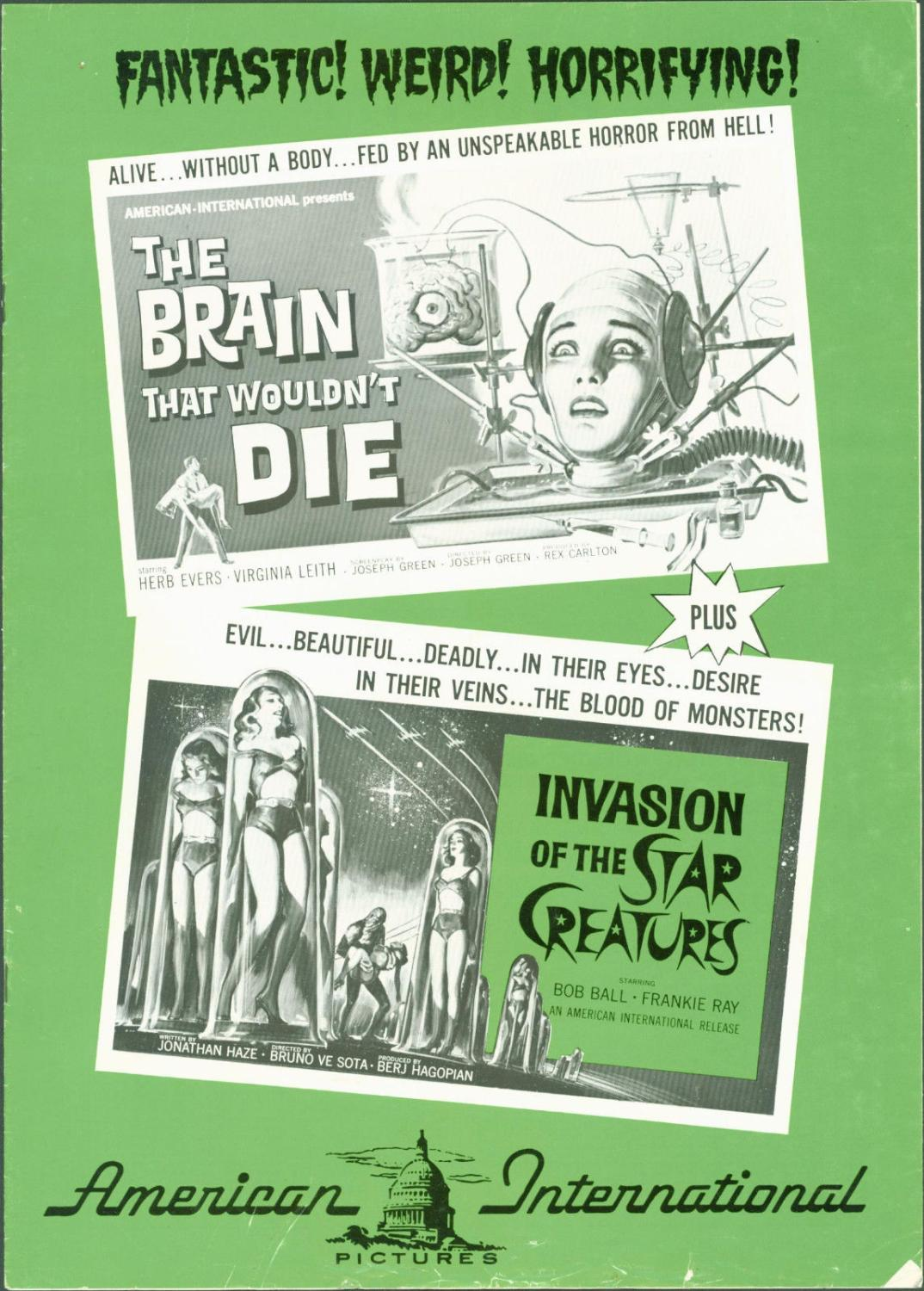 1962 The Brain That Wouldn't Die / Invasion of Star Creatures vintage pressbook Comic Book Softcover