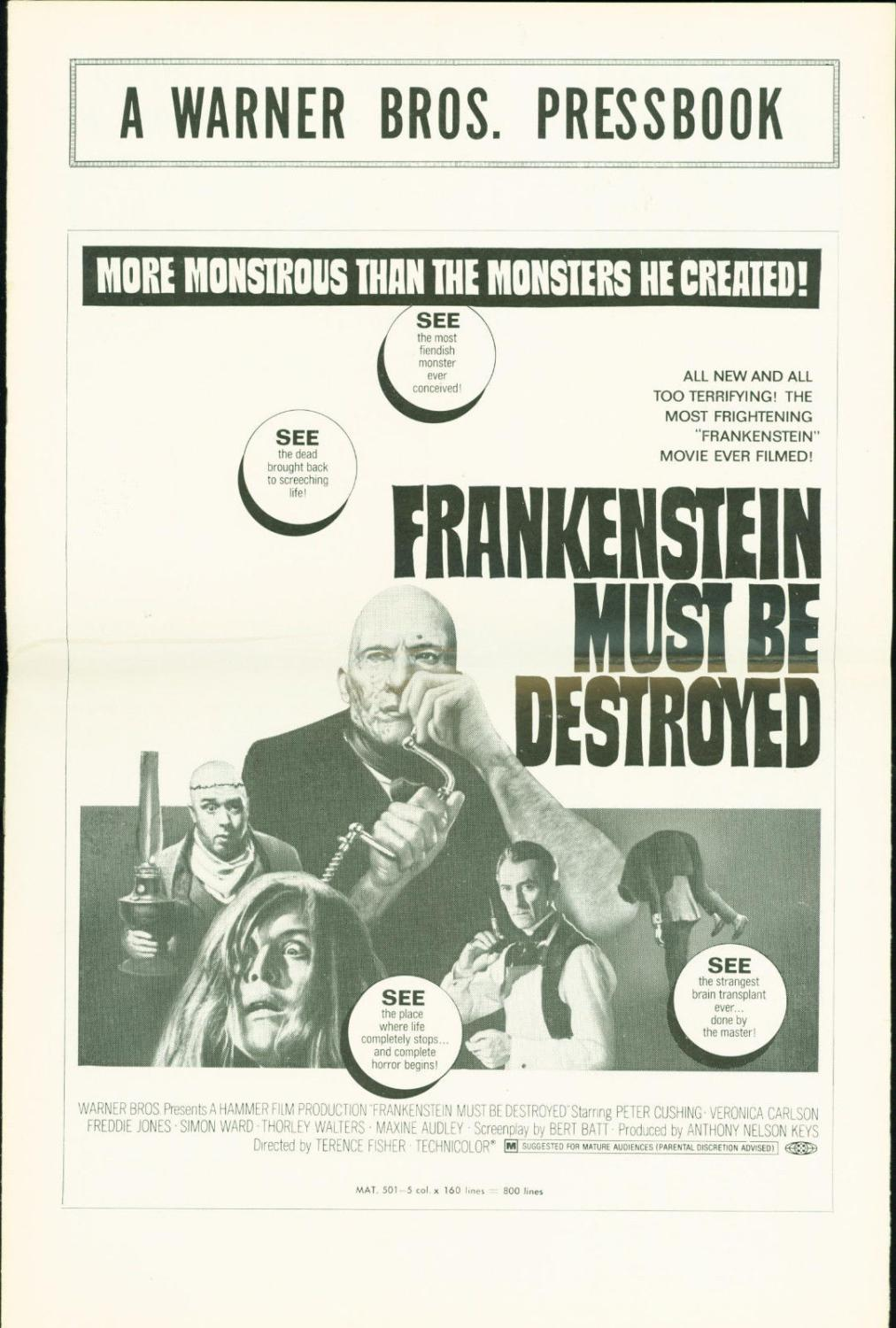 Frankenstein Must Be Destroyed (1969) Peter Cushing, Veronica Carlson press book Comic Book Softcover