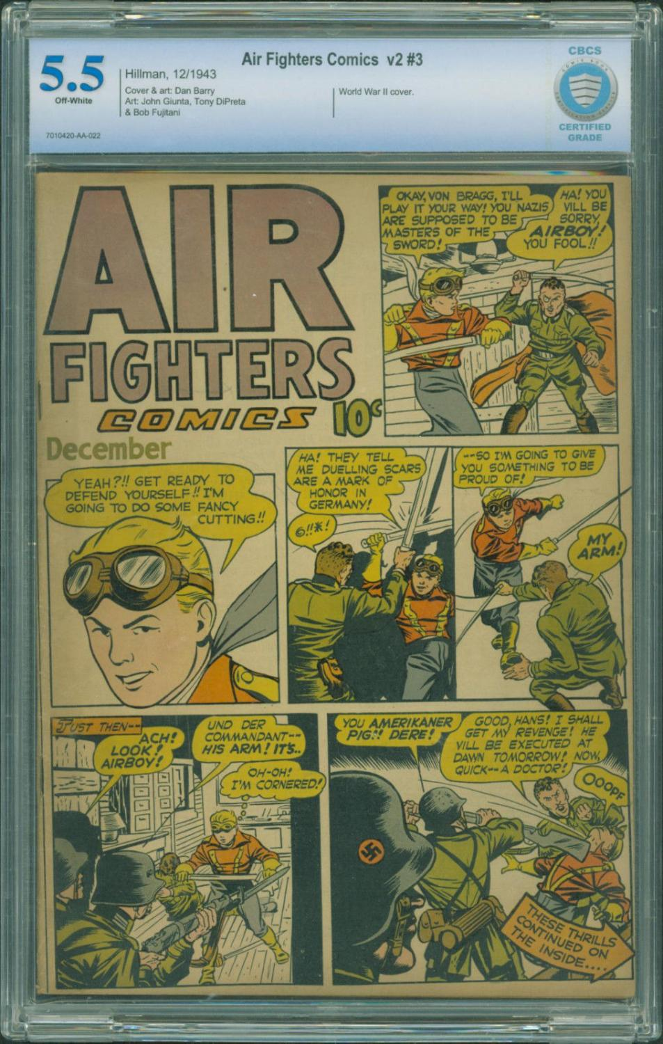 Air Fighters Vol 2 #3 CBCS 5.5 1943 Wolrd War II Hillman Nazi cover Airboy Comic Book Softcover