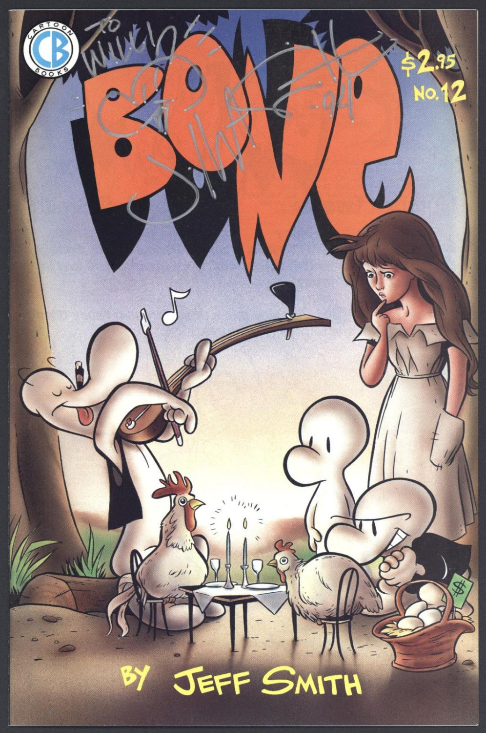 Bone #12 Near Mint 1st Printing Signed by Jeff Smith Cartoon Books 1994 SA Comic Book Softcover Comic is complete. Cover and Centerfold attached at both staples.Please be familiar with comic grading terms like: Very Fine, Very Good, Near Mint. Gr