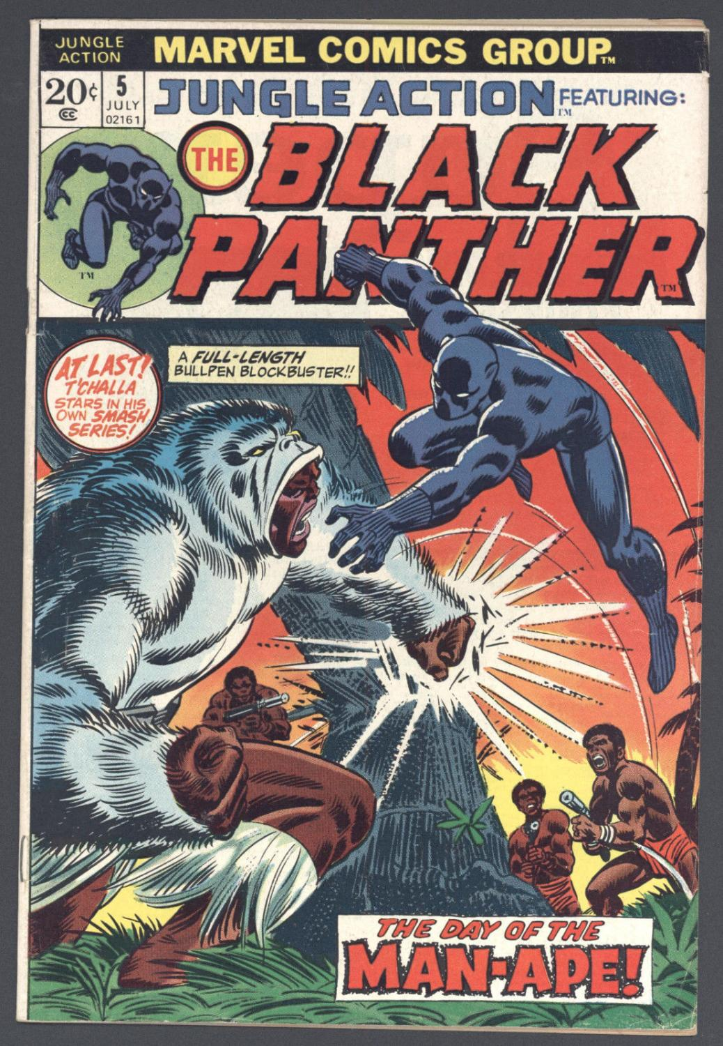 Jungle Action #5 Fine 1st Solo Black Panther Great Copy! Marvel Comics 1973 Comic Book Softcover Comic is complete. Cover and Centerfold attached at both staples.Please be familiar with comic grading terms like: Very Fine, Very Good, Near Mint. Gr
