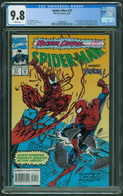 Spider Man 37 9 8 Cgc White Pages Venom Maximum Carnage Marvel