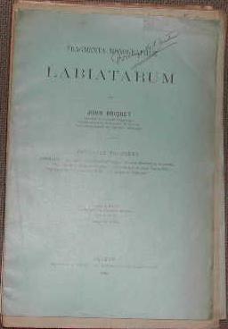 Fragmenta monographiae labiatarum-Fascicule troisième. Un nouvel acrocéphale: SCIENCES BOTANIQUE MEDECINE]